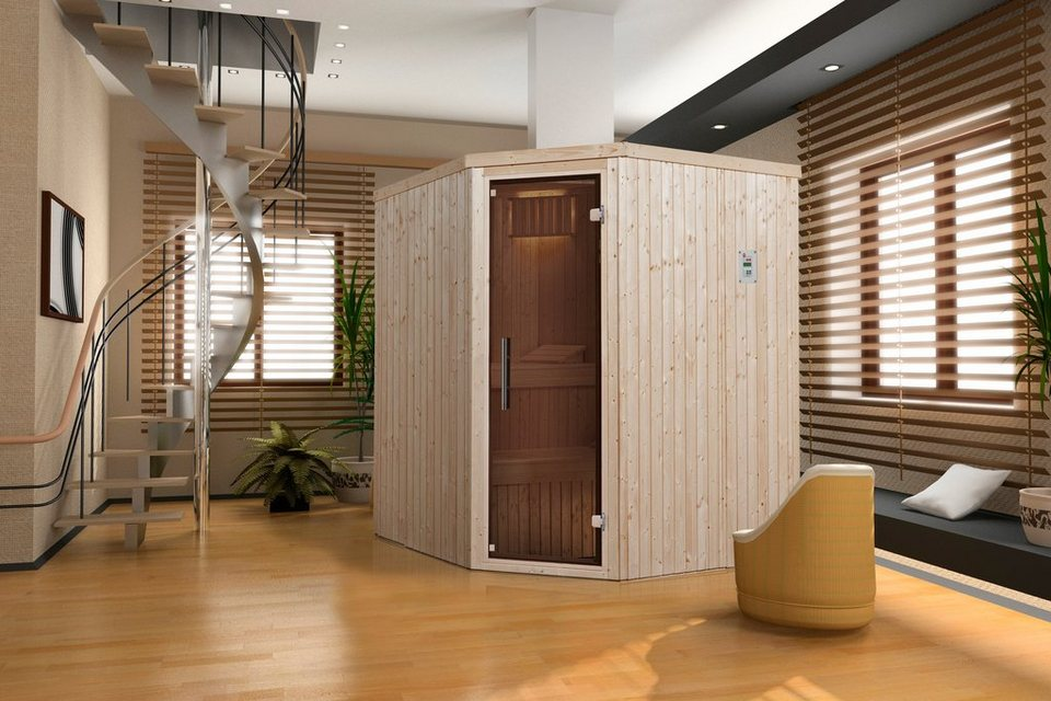 Sauna »Lyngdal 3 Trend Plus BioS«, 192/175/199 cm, 68 mm, 7,5-KW-Bio-Kombiofen in natur