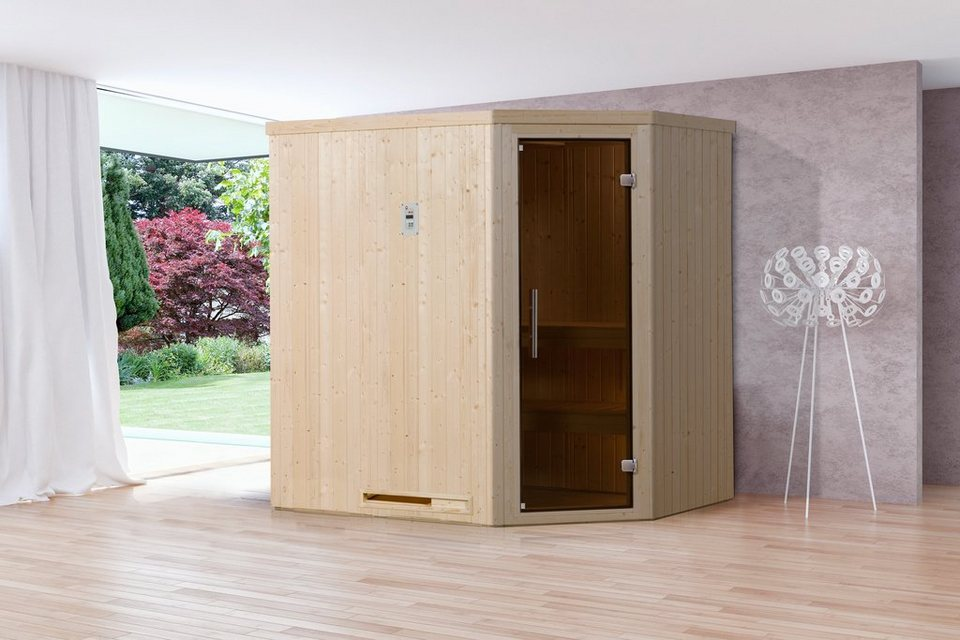 Sauna »Lyngdal 2 Trend BioS«, 192/141/199 cm, 68 mm, 7,5-KW-Ofen in natur