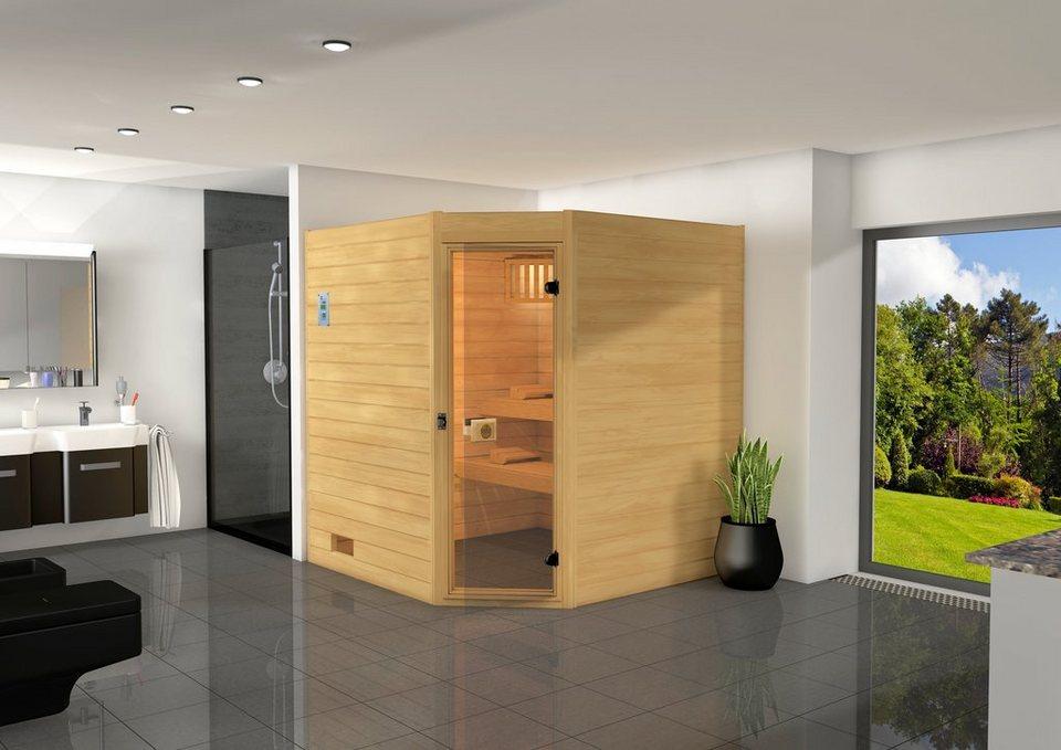 Sauna »Vaasa 2«, 187/170/203,5 cm, 7,5-KW-Ofen mit ext. Steuerung in natur