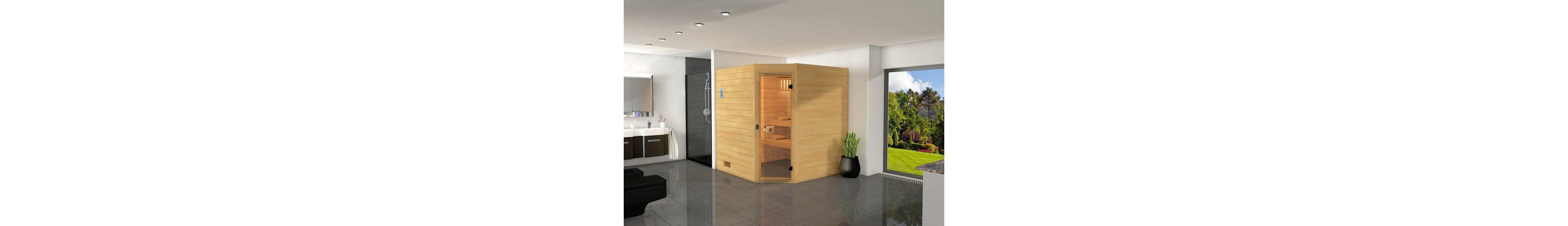 Sauna »Vaasa 2«, 187/170/203,5 cm, 7,5-KW-Ofen mit ext. Steuerung