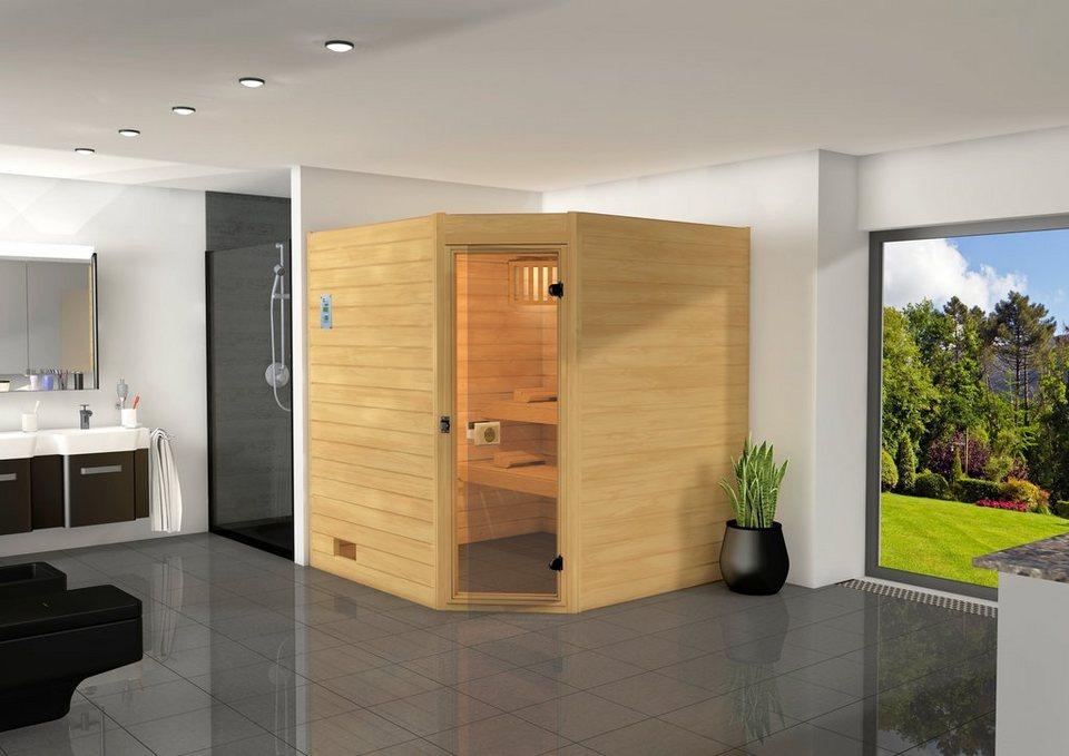 Sauna »Vaasa 2«, 187/170/203,5 cm, 38 mm, 7,5-KW-Kombiofen in natur