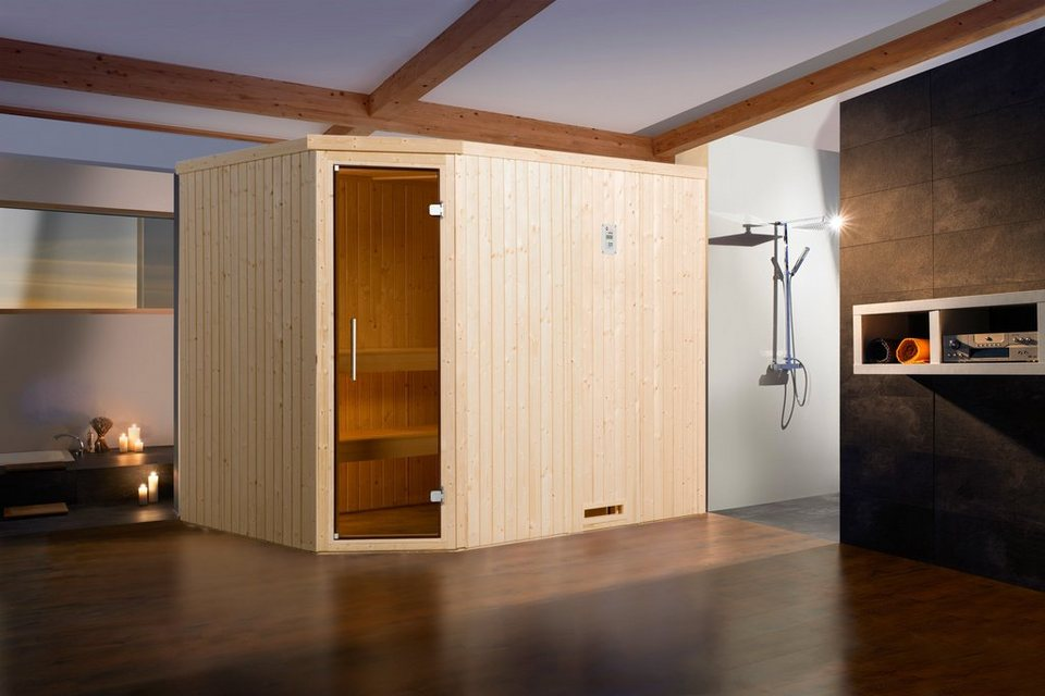 Sauna »Lyngdal 4 Trend Plus OS«, 242/192/199 cm, 68 mm, 7,5-KW-Ofen in natur