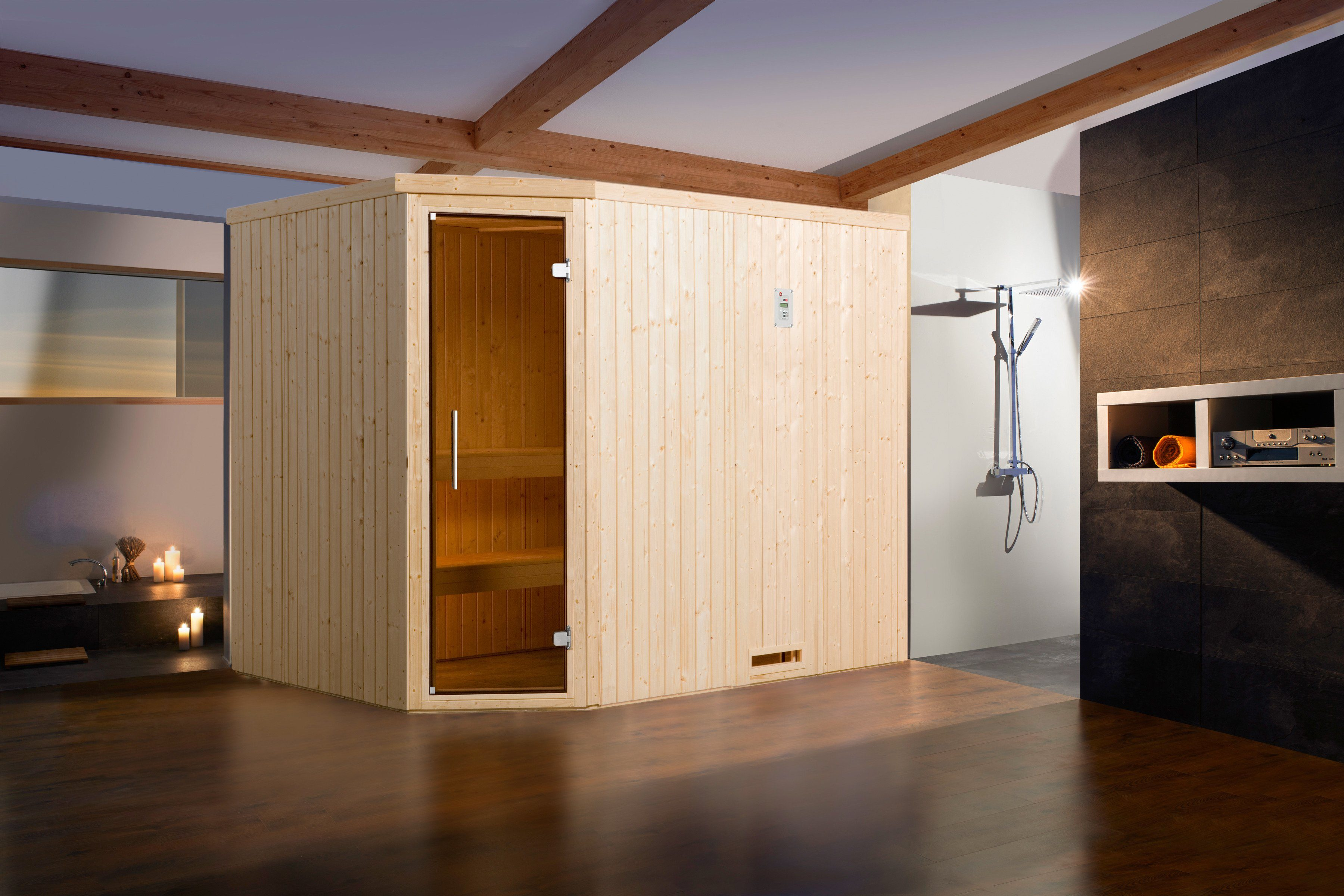 Weka Sauna »Lyngdal 4 Trend Kompakt«, 242/192/199 cm, 68 mm, 8-KW-Ofen