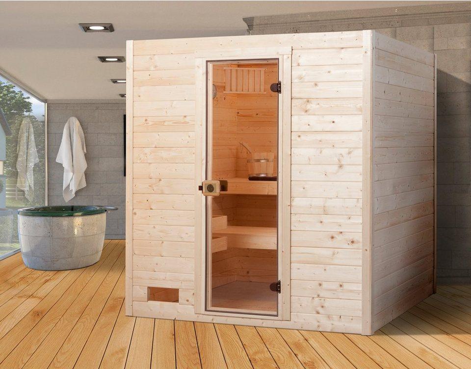 Sauna »Vaasa 2«, 187/170/203,5 cm, 38 mm, 7,5-KW-Ofen in natur