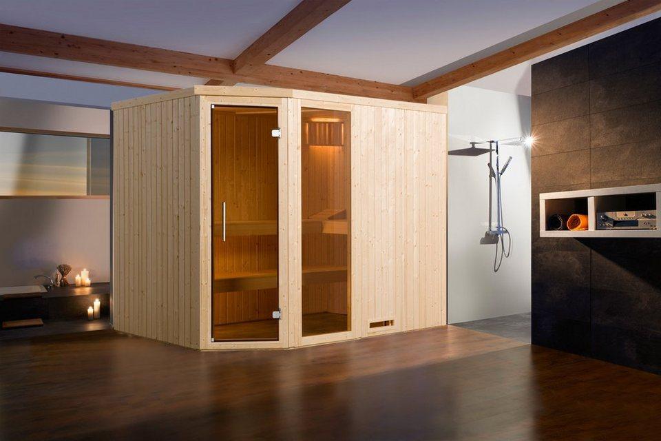 Sauna »Lyngdal 4 Trend Plus Kompakt«, 242/192/201 cm, 68 mm, 8-KW-Ofen in natur