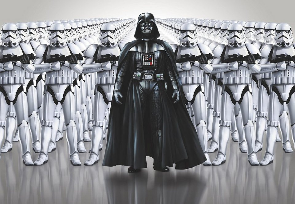 Papiertapete, Komar, »Star Wars Imperial Force«, 368/254 cm in schwarz/weiß