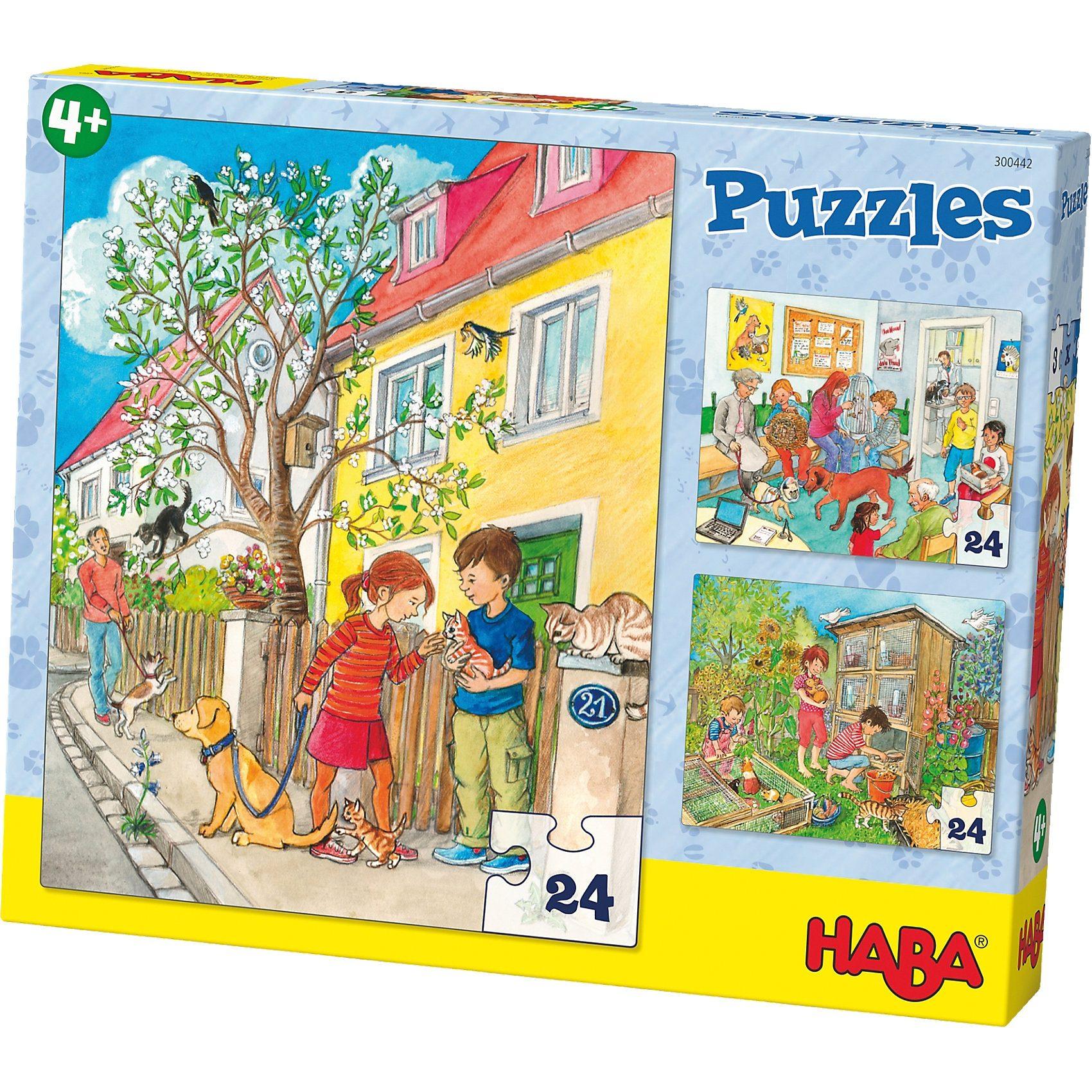 Haba 3er Puzzle-Set - Haustiere - 24 Teile