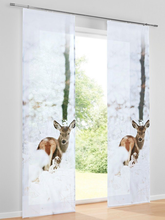 Schiebevorhang in natur/weiß