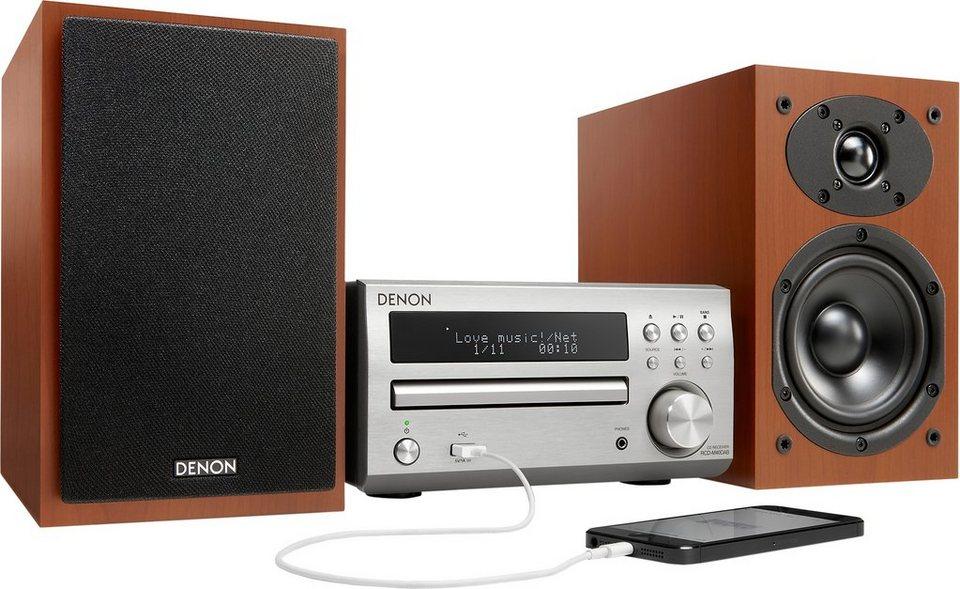 Denon D-M40DAB Microanlage, Digitalradio (DAB+), RDS, 1x USB in silberfarben/kirschfarben