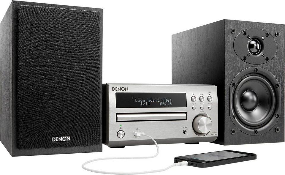 Denon D-M40DAB Microanlage, Digitalradio (DAB+), RDS, 1x USB in silberfarben/schwarz