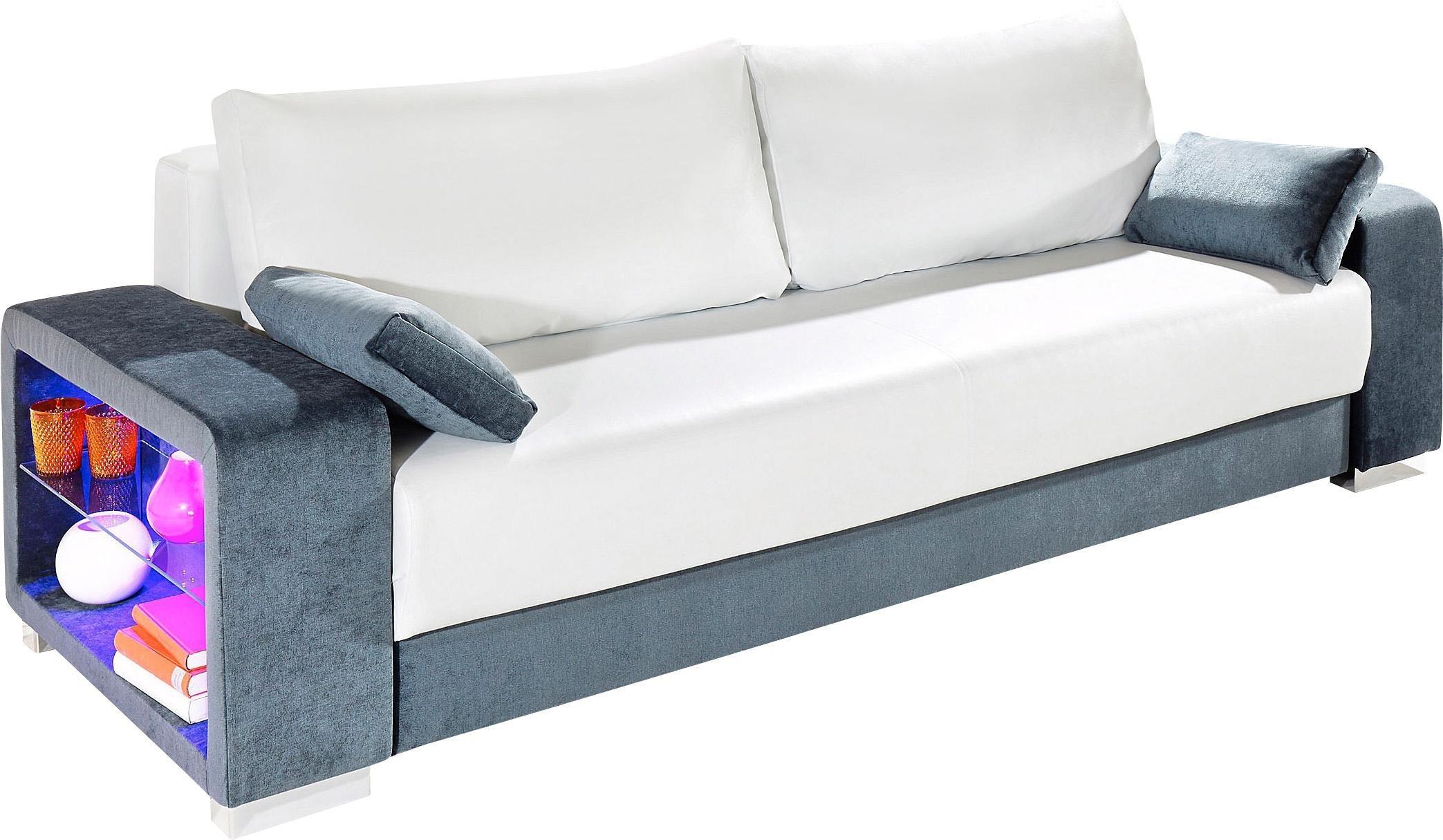 INOSIGN Schlafsofa 3-Sitzer, wahlweise mit Beleuchtung | Wohnzimmer > Sofas & Couches > Schlafsofas | Microfaser - Kunstleder | INOSIGN