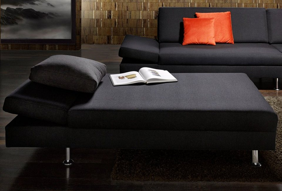 SOFA-TEAM Hocker, mit verstellbarer Armlehne in schwarz