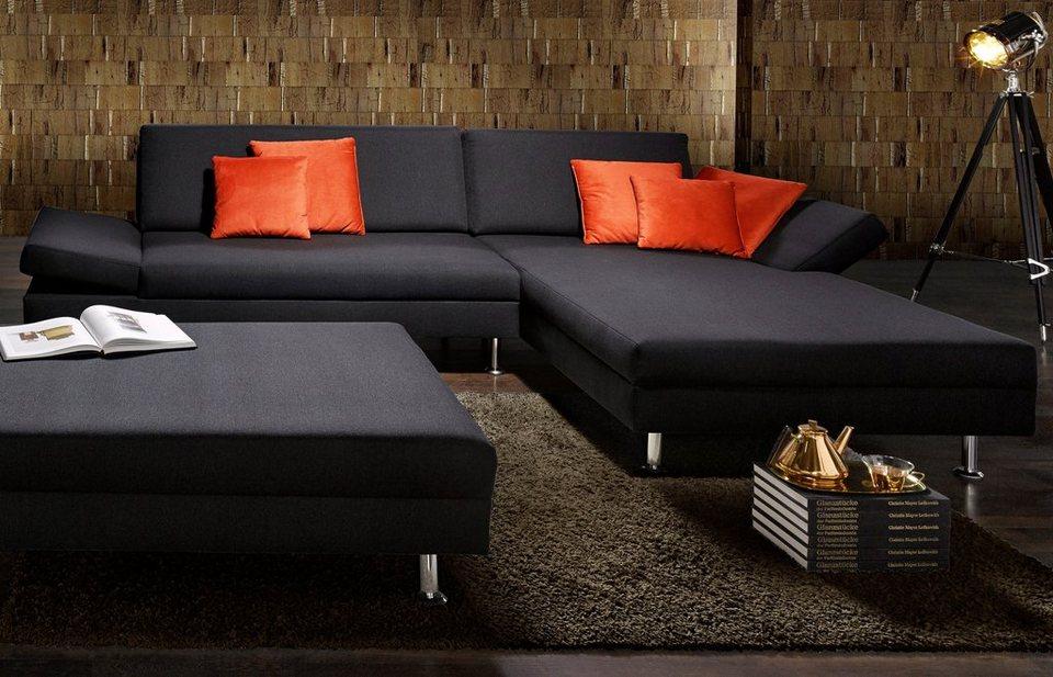 SOFA-TEAM Polsterecke in schwarz/orange