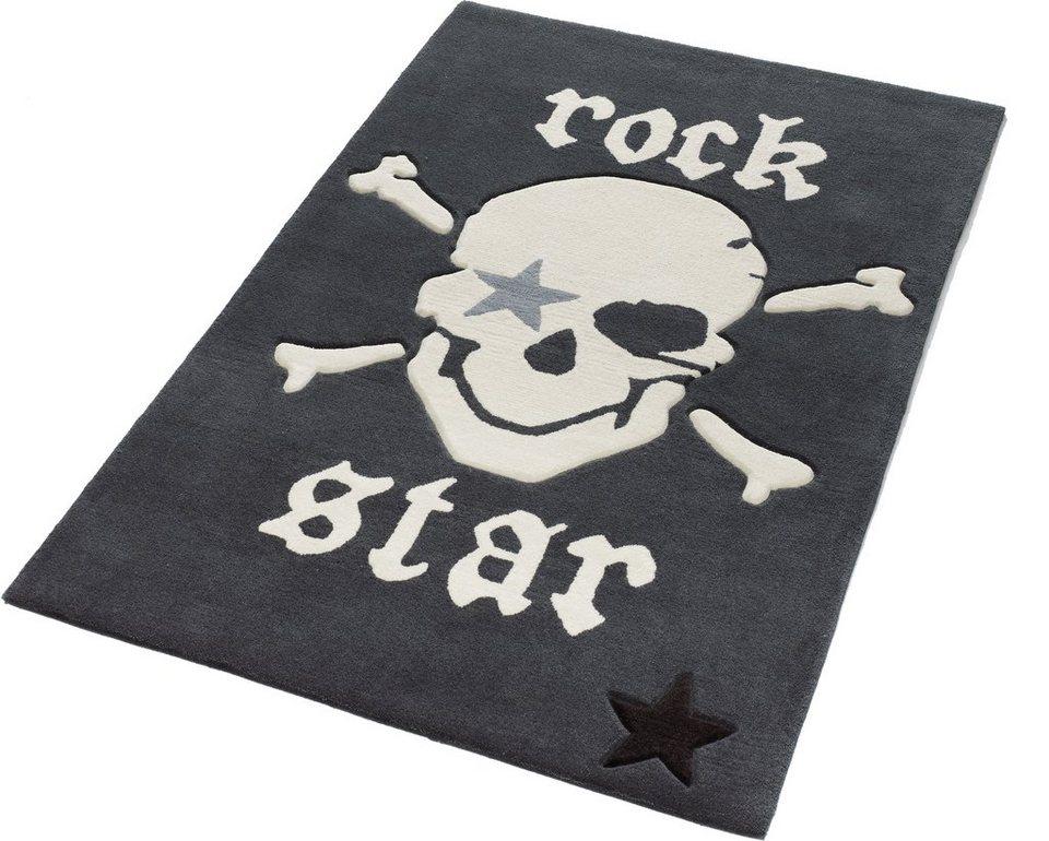 Teppich, Rock Star Baby, »702«, Konturenschnitt, Hoch-Tief-Struktur in dunkel grau