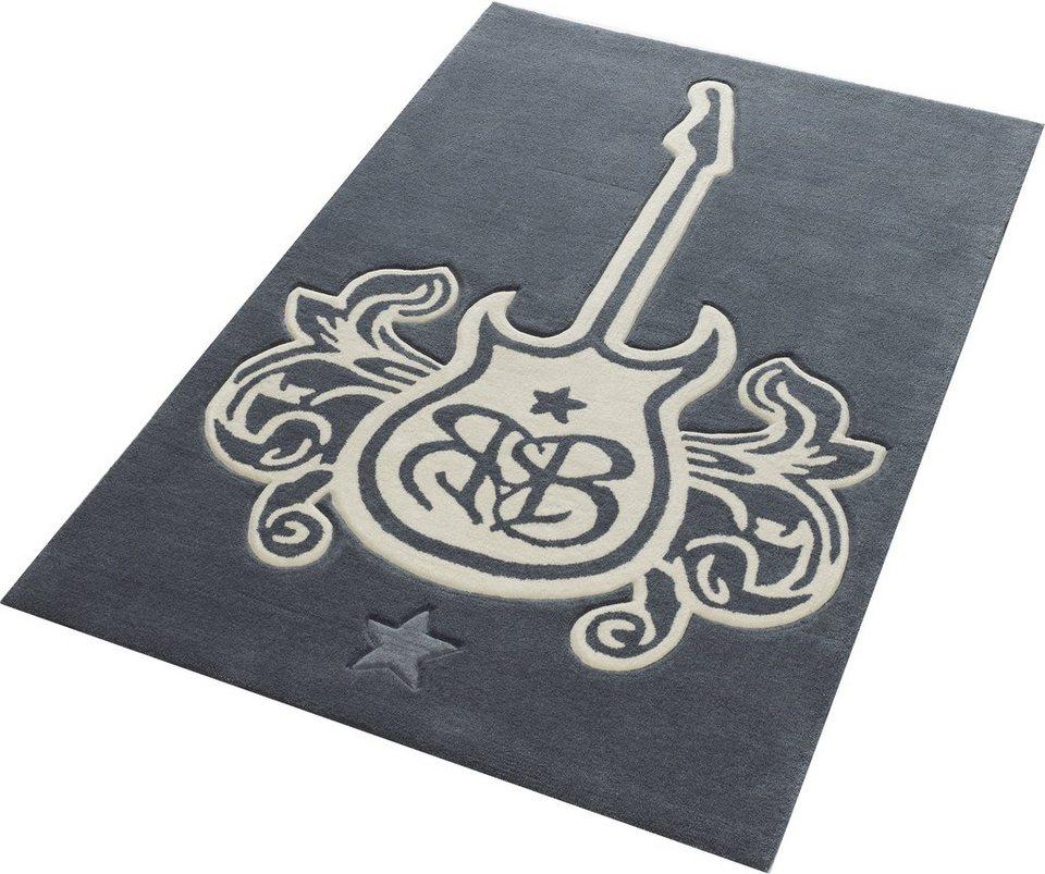 Teppich, Rock Star Baby, »709«, handgearbeiteter Konturenschnitt, Hoch-Tief-Struktur in grau