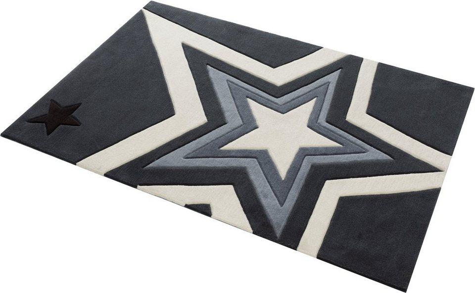 Teppich, Rock Star Baby, »704«, handgearbeiteter Konturenschnitt, Hoch-Tief-Struktur in silberfarben