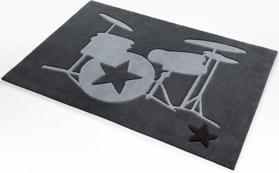 Teppich, Rock Star Baby, »708«, handgearbeiteter Konturenschnitt, Hoch-Tief-Struktur in dunkel grau