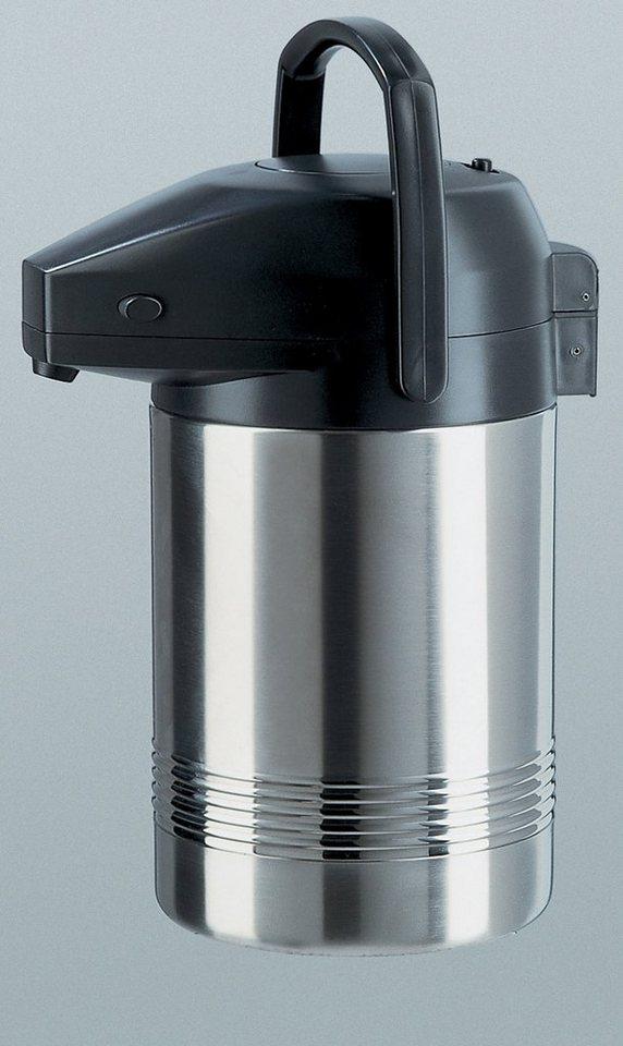 Pump-Isolierkanne, Emsa, »PRESIDENT«, 2,0 l und 3,0 l in silberfarben-schwarz