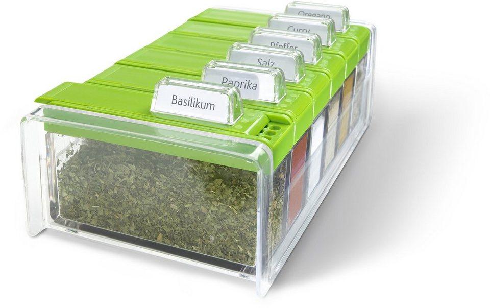 Gewürzkartei, Emsa, »SPICE BOX«, mit 6 Gewürzen in transparent grün