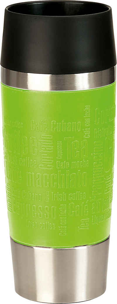 Emsa Thermobecher »Travel Mug«, Edelstahl, Silikon, Kunststoff, Edelstahl, 360 ml Inhalt, auslaufsicher, 4h heiß, 8h kalt, 360°-Rundum-Trinköffnung, spülmaschinenfest