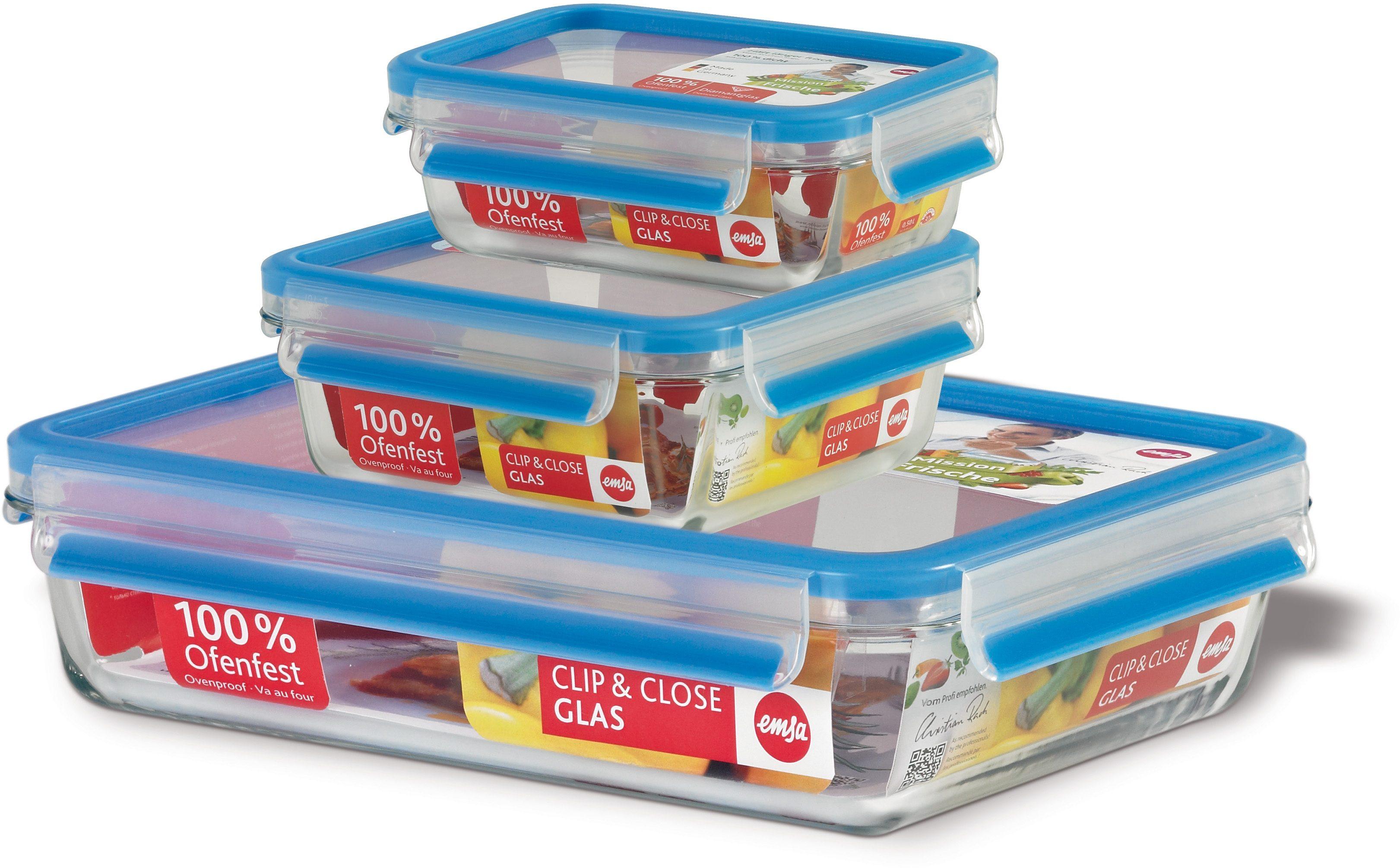 Frischhaltedose/Gefrierdosen, Emsa, »CLIP & CLOSE«, 0,5 l, 0,9 l, 2,0 l (3 Stck.)