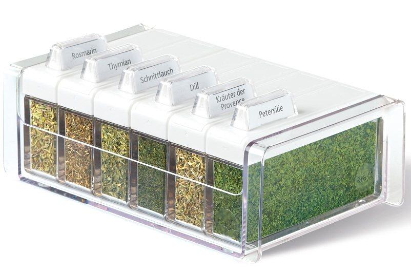 Gewürzkartei, Emsa, »SPICE BOX«, mit 6 Gewürzen in transparent weiß
