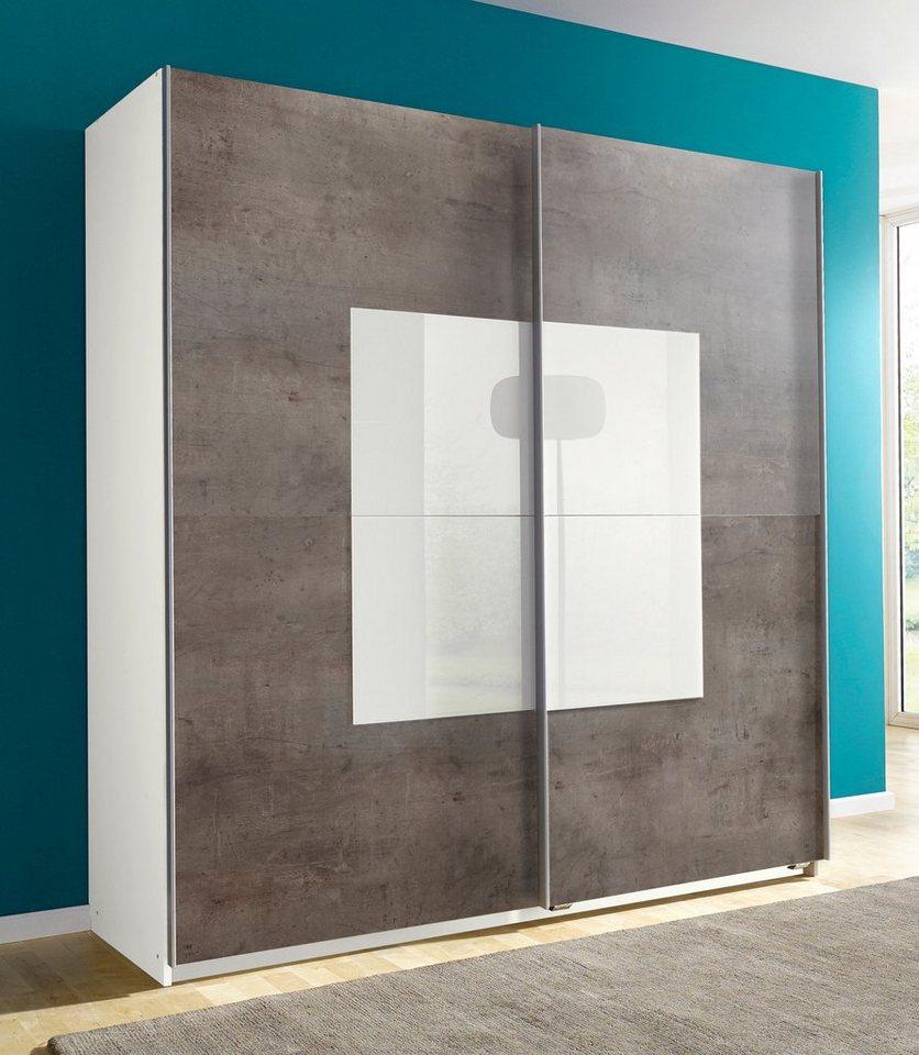 Wimex Schwebetürenschrank in weiß-betonfb. /Weißglas