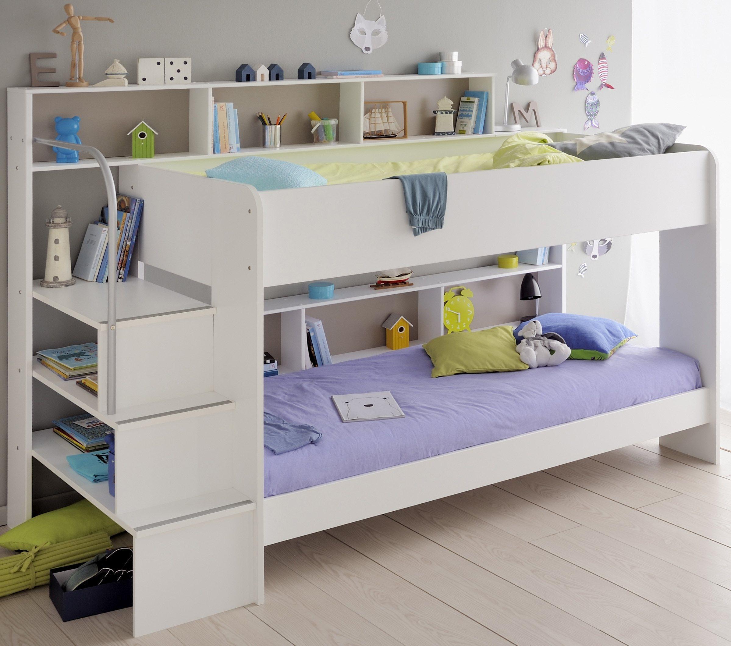 Parisot Etagenbett »Bibop« | Kinderzimmer > Kinderbetten > Etagenbetten | Weiß - Rosa - Braun | Parisot