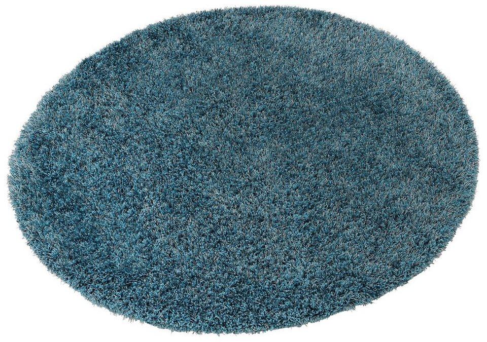 Hochflor-Teppich, rund, Esprit, »Cosy Glamour«, Höhe ca. 40 mm, gewebt mit Melange-Effekt in türkis