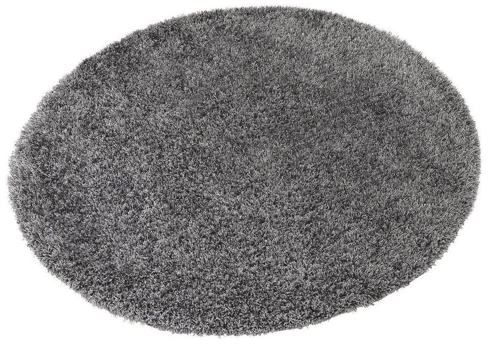 Hochflor-Teppich, rund, Esprit, »Cosy Glamour«, Höhe ca. 40 mm, gewebt mit Melange-Effekt in silber