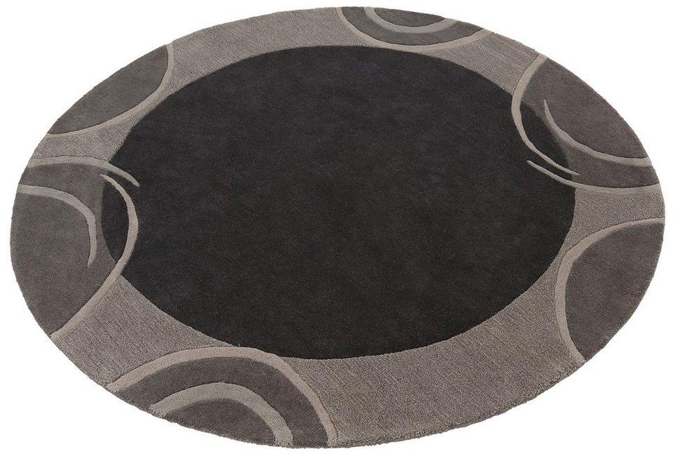 Teppich, rund, Theko exklusiv, »Bellary«, handgearbeiteter Konturenschnitt, handgetuftet, reine Schurwolle in grau