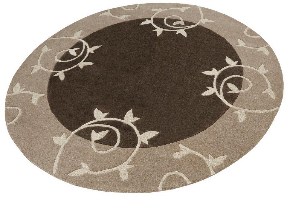 Teppich, rund, Home Affaire Collection, »Parma«, Hoch-Tief-Effekt, handgetuftet, reine Schurwolle in braun