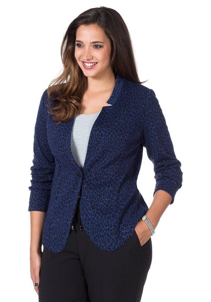 sheego Style Modischer Jerseyblazer in nachtblau-schwarz
