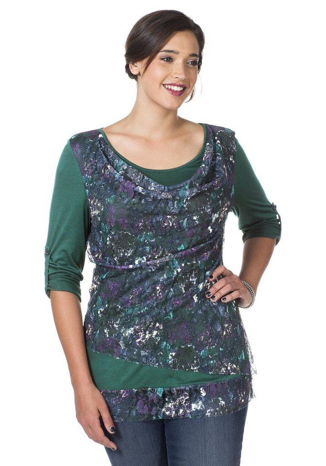sheego Style Elegantes Spitzenshirt in opalgrün bedruckt