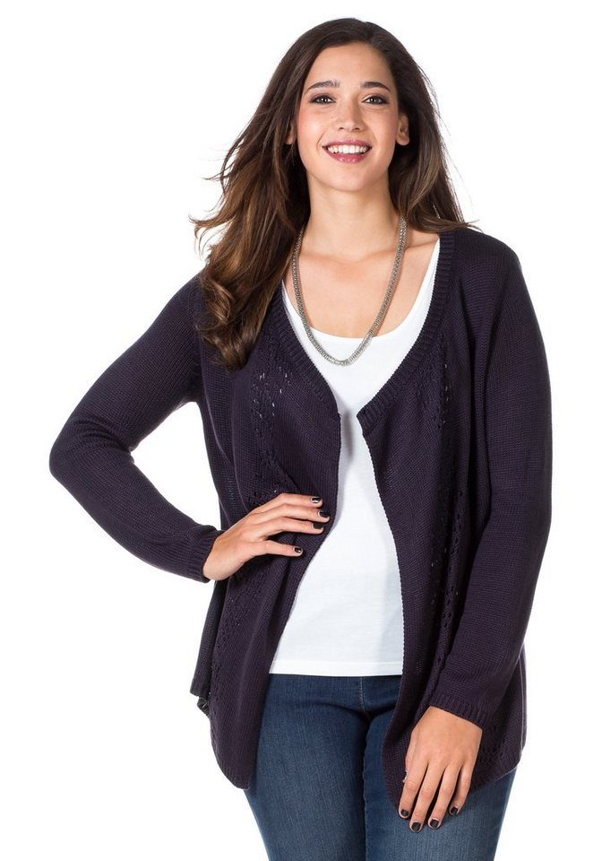sheego Style Strickjacke in pflaume