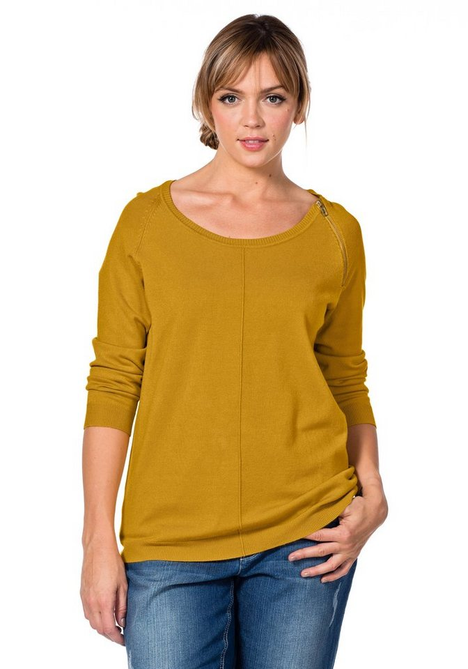 sheego Casual Strickpullover mit Ziernaht in curry