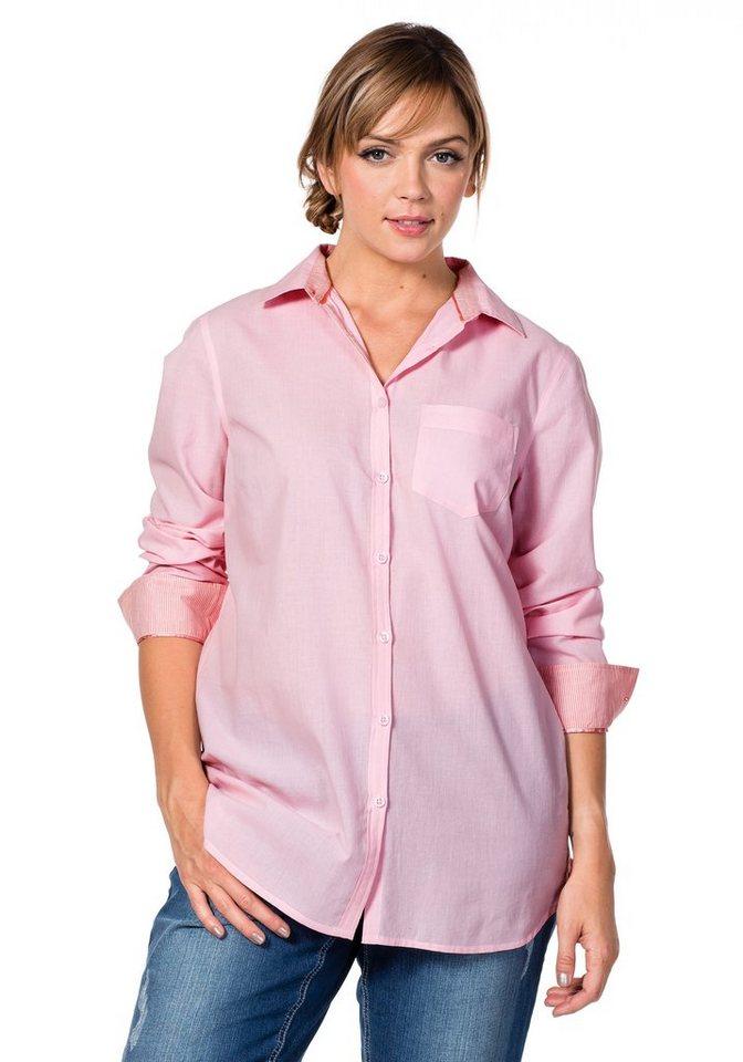 sheego Casual Leicht taillierte Hemdbluse in rosa
