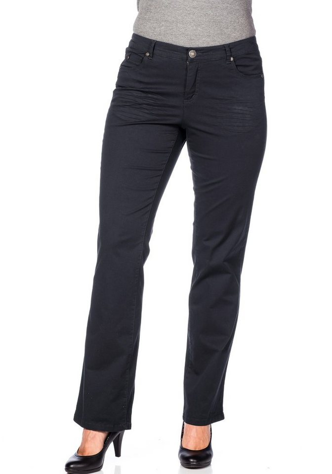 sheego Casual Gerade Stretch-Hose in anthrazit