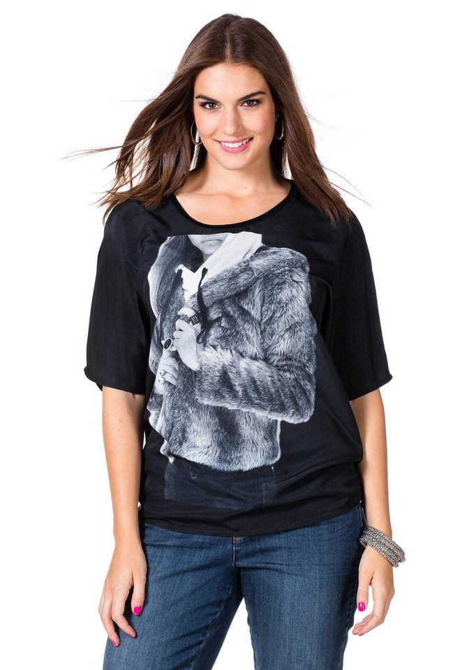 sheego Trend T-Shirt in schwarz