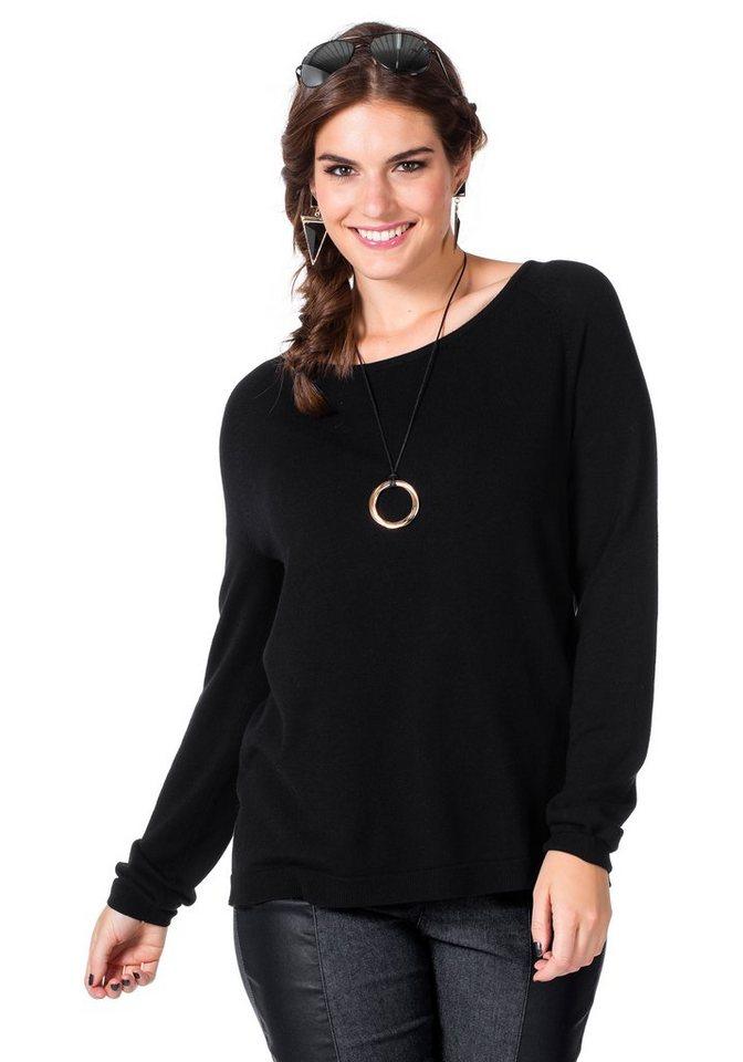 sheego Trend Pullover in schwarz-nachtblau