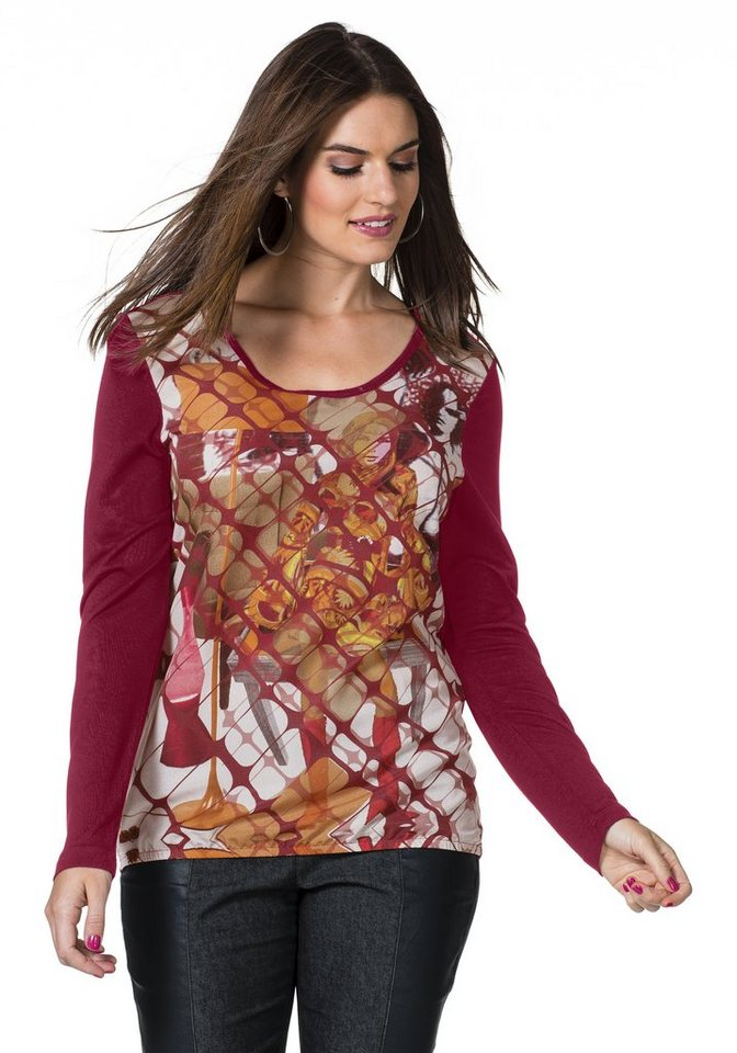 sheego Trend Print T-Shirt in weinrot