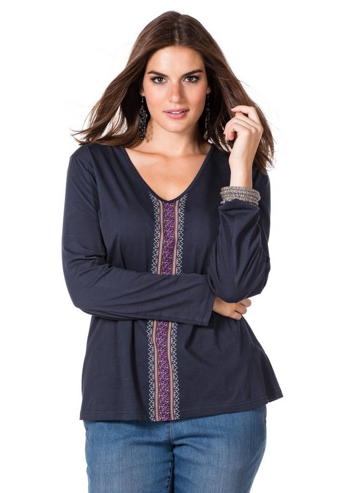 sheego Trend Langarmshirt in dunkelblau