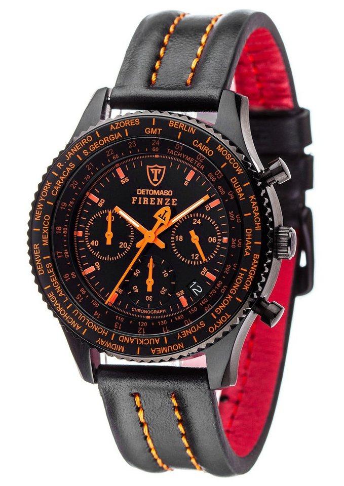 Detomaso Chronograph »Firenze, SL1624C-BO« in schwarz