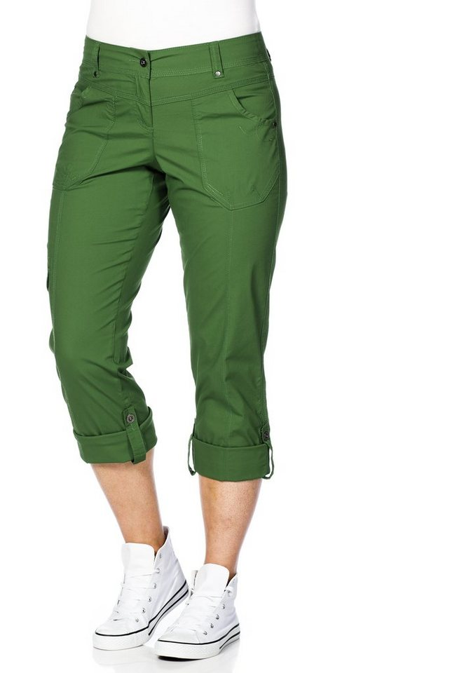 sheego Casual Gerade Stretch-Hose in dunkelgrün