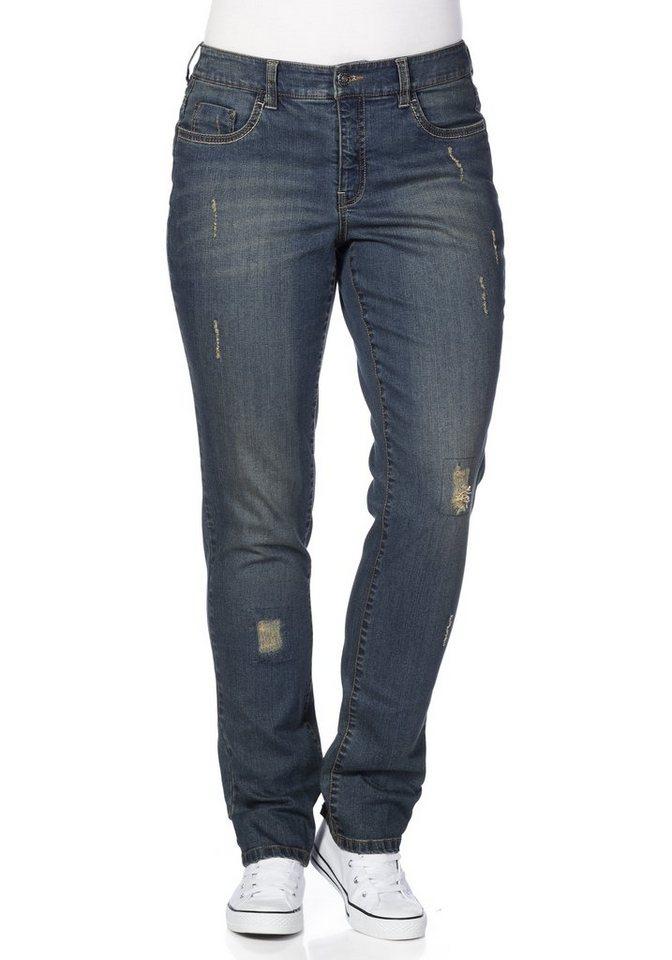 sheego Denim Schmale Stretch-Jeans mit Destroyed-Effekten in blue Denim