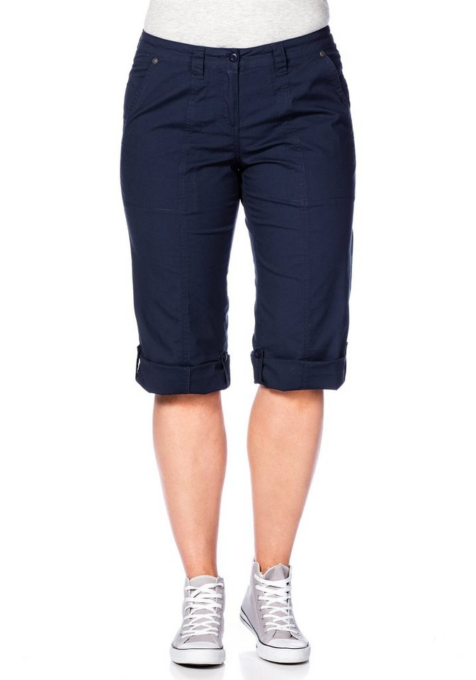 sheego Casual 3/4-lange Hose mit Krempelfunktion in marine