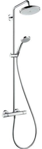 hansgrohe Brausegarnitur »Croma Showerpipe 220«, Höhe 115 cm, Steigrohr in der Höhe ablängbar, schwenkbarer Brausearm, höhenverstellbare Handbrausehalterung