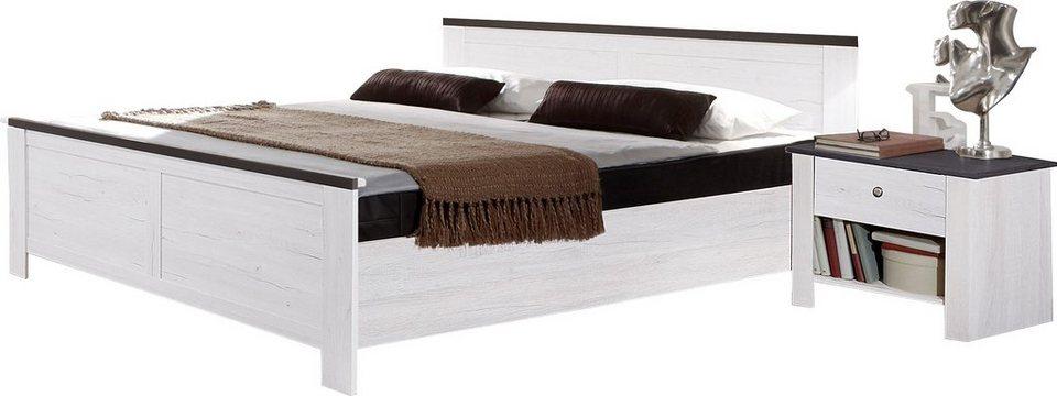 Wimex Bett in weißeichefarben/lavafarben