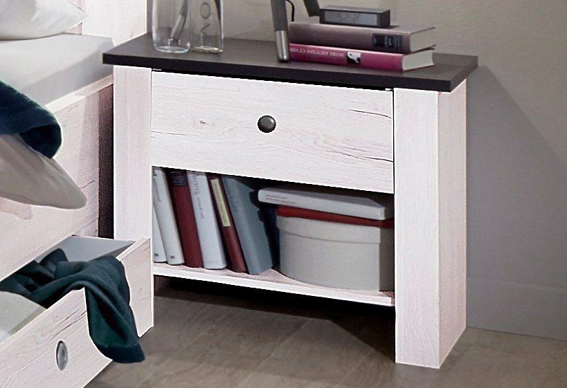 Wimex Nachttisch in weißeichefarben/lavafarben