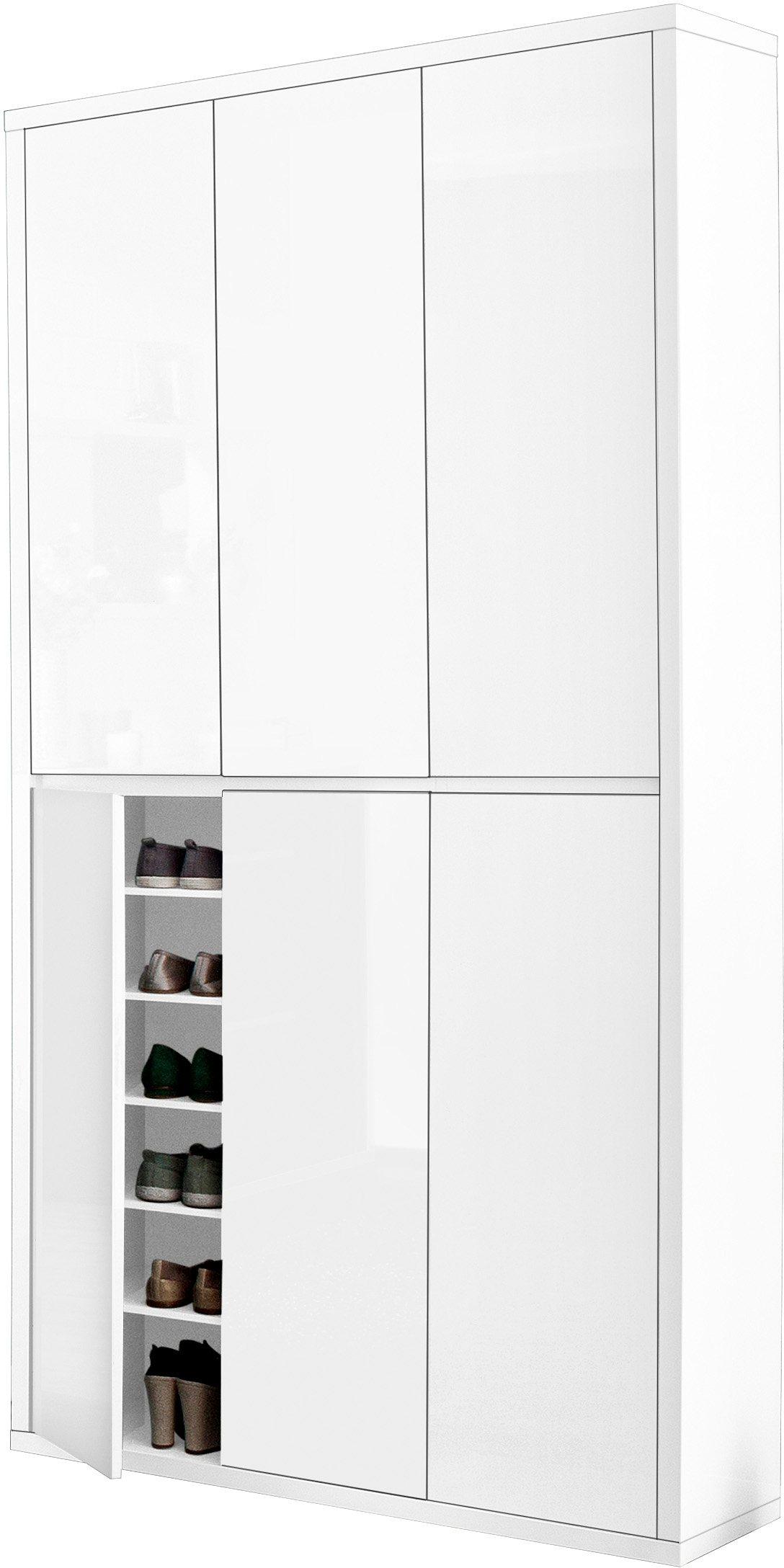HMW Schuhschrank »Spazio«, Breite 101 cm, mit griffloser Optik | Flur & Diele > Schuhschränke und Kommoden > Schuhschränke | Weiß - Anthrazit | Melamin | HMW